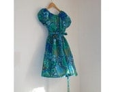 SALE  Mary Prairie Quite Contrary Blue green paisley dress  paisley cutie vintage fabric inspired