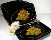 Vintage Black Enamel Metal Trays Set of 10 - Fruit Cornucopia Litho Decoration - Shabby Chic / BoHo Bistro Display