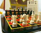 Champion Chess and Checkers with Metal Board Set - Vintage Pressman Game - Equipment for Repurposing