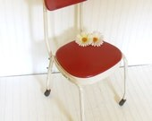Tomato Soup Red Vinyl and White Enamel Metal Task Chair - Vintage Stenographers Stool - Mid Century Adjustable / Rolling Task Seating