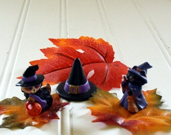 Raccoon Witch with Pumpkin / Cat Witch with Broom and Witches Hat - Vintage Hallmark Cards - Merry Miniature Halloween Collectibles