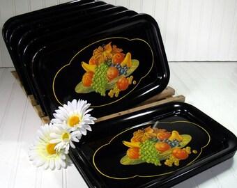 Lovely Vintage Black Enamel Metal Trays with Fruit Cornucopia Litho Decoration Perfect Size Shabby Chic BoHo Bistro Display - 10 Available