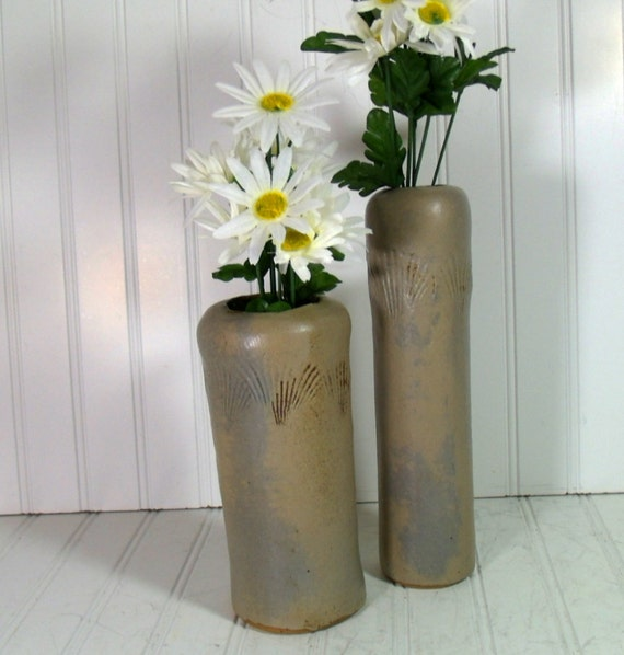 Vintage Handmade Rustic Ceramics Set of 2 Funky Primitive Pottery Vases - Prop Pair of Studio Vessels - Shabby Sea Shell Beach Brown Glaze