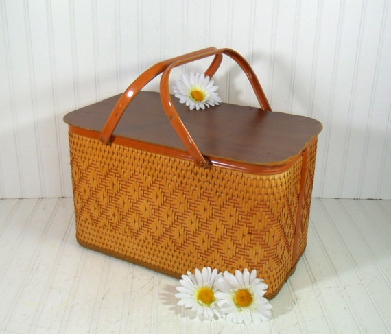 Wood and Metal Natural Woven Picnic Hamper - Vintage Two Tone Brown Basket - Shabby Chic BoHo Mod