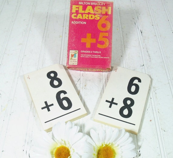 Retro Old School Numerical Addition Flash Cards Collection - Vintage Milton Bradley Learning Aid - Complete Set of 50 Cards in Original Box