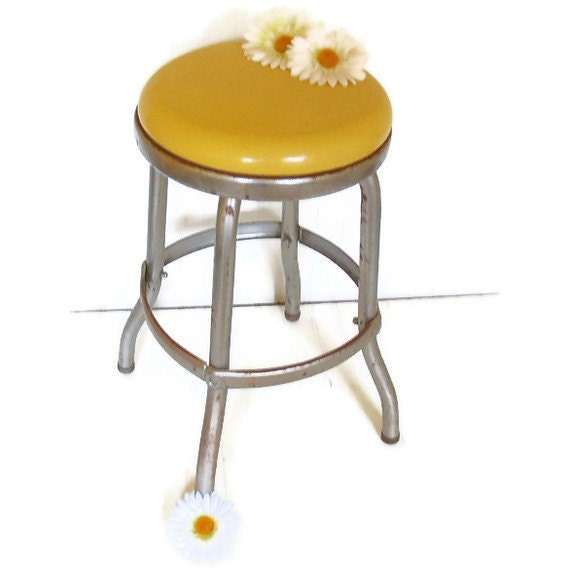 Sunshine Yellow Vinyl and Chrome Stool - Vintage Work Shop Seating - Ready for Restoration