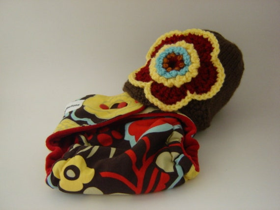 RETRO FLOWER One Size Cotton Hemp Fitted Cloth Diaper