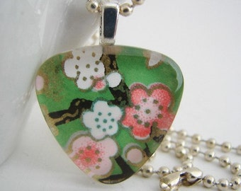 Triangle Cherry Blossom Pendant with Free Necklace