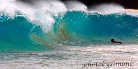 Turquoise aqua blue large ocean wave Makena Maui ocean spray body board surfing