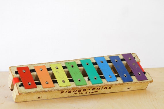Vintage Fisher Price Pull - A - Tune Xylophone Toy - Original Version