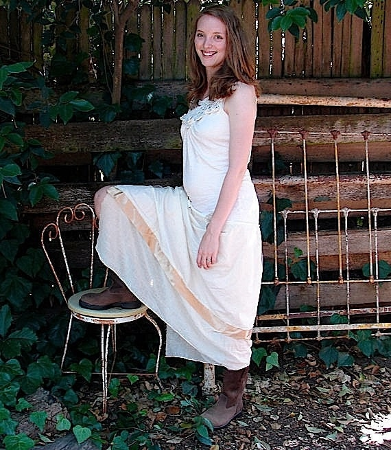 RESERVED FOR AMY rustic dress, french dress, natural wedding, outdoor bride, ranch wedding, bridal, cotton dress, upcycled dress,