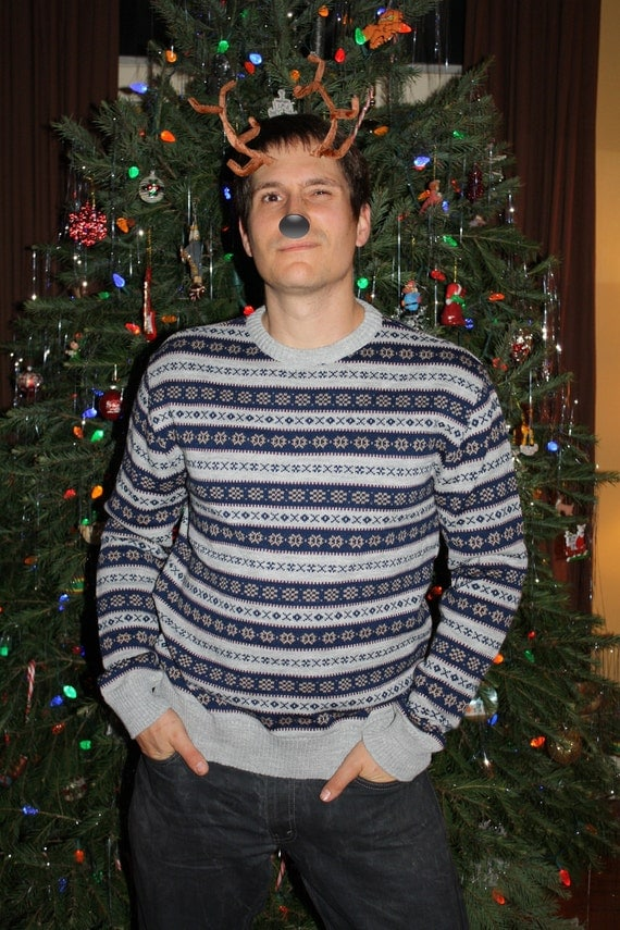 Nordic, Ski, Cozy Mens Sweater in large... FESTIVE Holiday Comfort