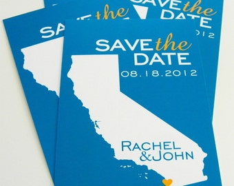 Save the Date Postcards Invitation Custom State Wedding Map Set of 48 - Any Location Available