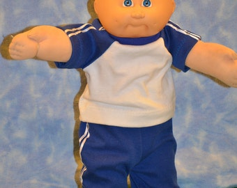 """Cabbage Patch Doll Clothes - Handmade for 16"""" - 18"""" Boy Dolls - Blue Sweats Outfit"""