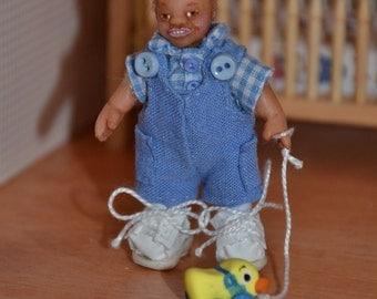 One Inch Scale Dollhouse Mini Toddler Boy Doll - Handmade OOAK Polymer Clay - Posable - Jonathan Richard w/ Pull Toy