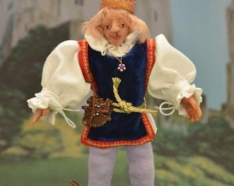 "Dollhouse Doll - 1/12 Scale Miniature Man - Handmade OOAK Polymer Clay - Posable - ""King Edmund I"""