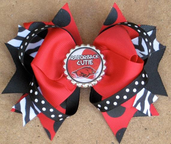 ARKANSAS RAZORBACKS Hair Bow Boutique Style Razorback Cutie Bottle Cap Hair Bow with Zebra Print