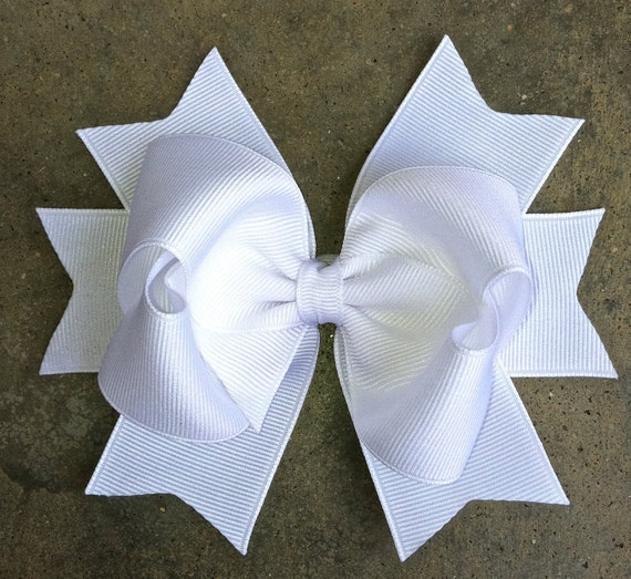 WHITE HAIR BOW Large Boutique Style White Hair Bow with Bow & Spikes