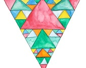 SHOUT abstract watercolor geometric triangle print