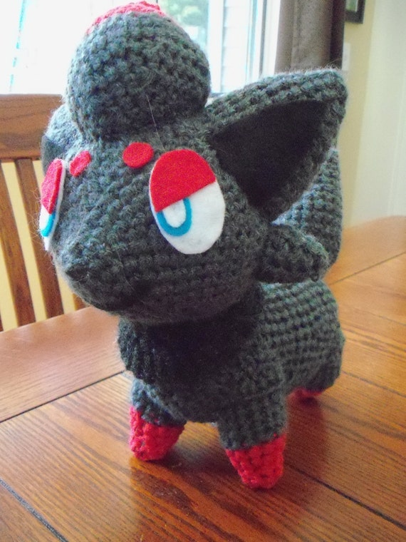 Pokemon amigurumi crochet Zorua doll.