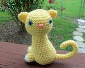 Kitty Doll - Light Lemon Yellow Sitting Pretty Kitty (Finished Doll)