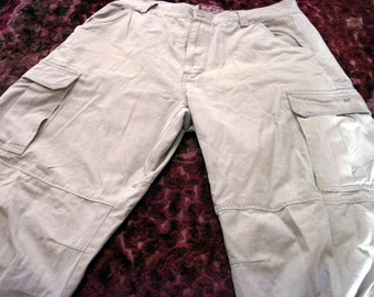 Men's Tan/Beige Multi Pouched Pants - size L-34