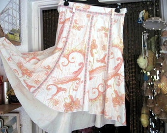 Unique Uneven Hemmed Ivory Skirt with Touches of Burnt Orange, Pink and Yellow Pastel Prints, Vintage