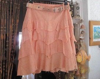 Bohemian Peachy Cotton Layers Skirt with Matching Belt - Size 12, TREASURY ITEM