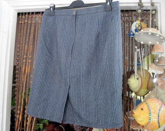 80's Gray Striped Classic Woolen Skirt, Vintage - Large