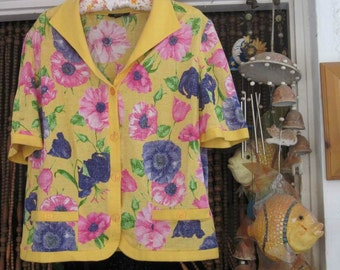 Italian  Short-Sleeved Summer Jacket / Blouse - Canary Yellow Background  Adorned with Beautiful Flowers Prints  - Large / TREASURY ITEM