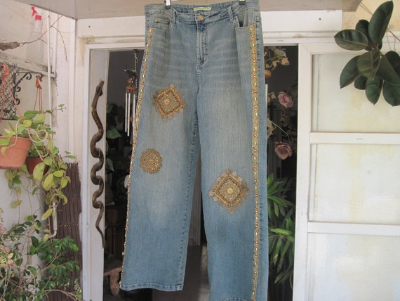 High-Waisted Stonewashed Blue Jeans, Artistically Embroidered, Patched & Beaded - XLarge to XXLarge