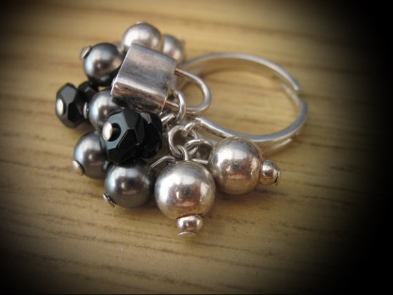 Unique 925 Sterling Silver (Stamped) Adjustable Fun Ring with Dangling Puffy 3D Ball Abstract - Sterling and Onyx