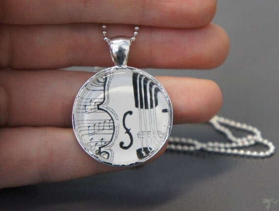 Violin Song 1 inch round glass art pendant silver necklace on ball chain