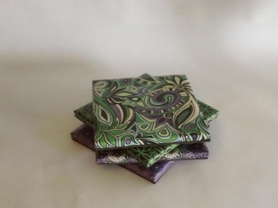 Purple and Green Multi Design Coasters