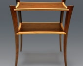 Two tiered Walnut and Sycamore side table entitled Camber