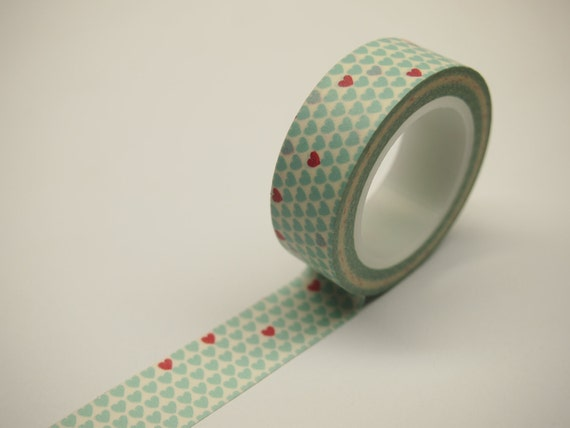 Washi Tape - Aqua Hearts with Red Hearts (10M)