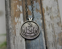 Coat of Arms Necklace Family Crest Lion Crest Pendant - perfect for men