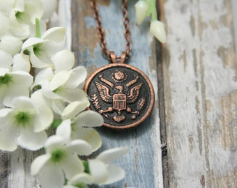 American eagle US Army Pendant Necklace Copper - made with a vintage Army button