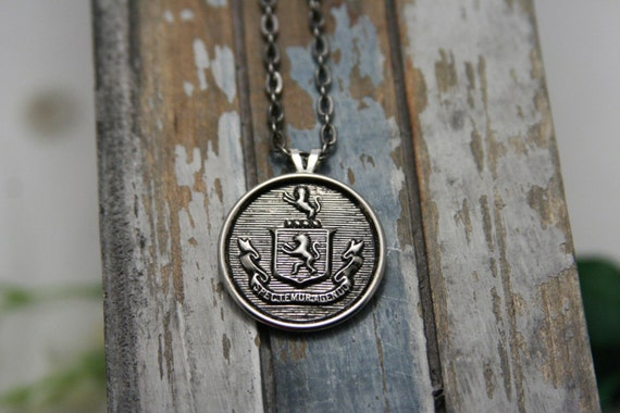 Coat of Arms Necklace Family Crest Lion Crest Pendant - perfect for men