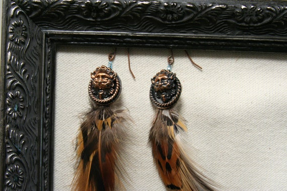 Feather Earrings - with vintage copper lions head medallions