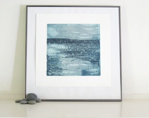 Contemporary Etching Print: Strata in Blue