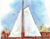 Birthday Card To UNCLE Nautical Red Sailboat Vintage1960's