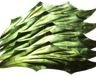 Vintage Paper Craft Foil Art Leaves GREEN DIY Christmas Garland Millinery Flower Supplies