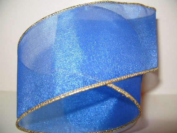 Blue Gold Christmas Ribbon Vintage Floral Sheer Organza Wired Fabric DIY Craft Trim