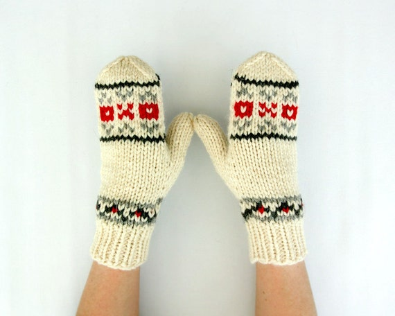 Natural White, Grey and Red Mittens Natural Undyed Wool Gift for Her