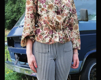 70s BOHO BABE Sheer Floral Bell Sleeve Blouse