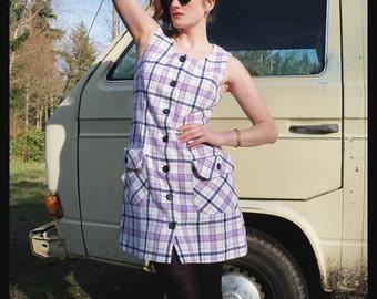 60s LAVENDER LASS Plaid Mod Jumper Dress, Small Medium