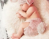 Pink Bunny Hat and diaper cover, cozy winter hat, Halloween costume or photo prop