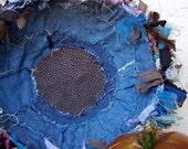 Fiber Art Bowl, Shades of Blue, Torn Fabric Folk Art Bowl
