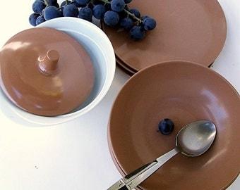 Vintage Melamine Dishes, Brown Bowls, Plates and Sugar